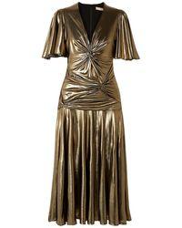 Michael Kors Twisted Ruched Lamé Midi Dress Gold - Metallic