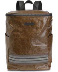 Brunello Cucinelli Bead-embellished Coated-linen Backpack Light Brown