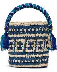 Yosuzi Tara Tasseled Toquilla Straw Bucket Bag Royal Blue
