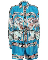 Emilio Pucci Belted Printed Silk-twill Playsuit Cobalt Blue
