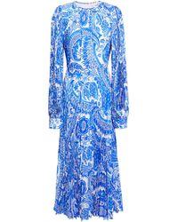 Andrew Gn Pleated Printed Silk Crepe De Chine Midi Dress Bright Blue