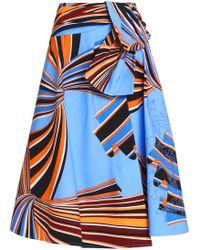 Emilio Pucci - Wrap-effect Printed Stretch-cotton Midi Skirt Light Blue - Lyst