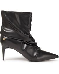 Love Moschino Gathered Faux Leather Ankle Boots - Black