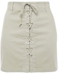 J Brand Talia Lace-up Cotton-blend Canvas Mini Skirt Sage Green