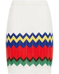 M Missoni Intarsia-knit Cotton-blend Mini Skirt - White