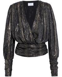 Redemption Ruched Metallic Silk-blend Jacquard Wrap Top