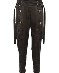Balmain - Stretch-jersey Paneled Satin-twill Tapered Pants - Lyst