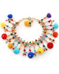 Rosantica - Gold-tone, Bead And Pompom Bracelet - Lyst