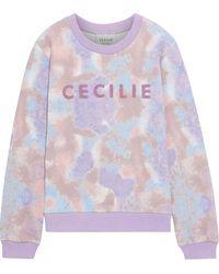 Cecilie Copenhagen Cecilie Copenhagen Ila Appliquéd Tie-dyed French Cotton-terry Sweatshirt - Purple