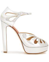 Francesco Russo Cutout Mirrored-leather Sandals - Metallic