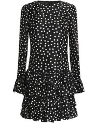 Dolce & Gabbana - Ruffled Polka-dot Silk-crepe Mini Dress - Lyst