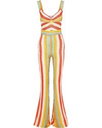 Peter Pilotto Ruched Striped Knitted Jumpsuit Multicolor