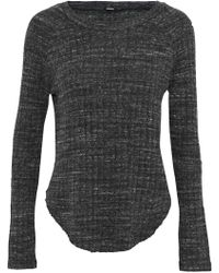 Monrow - Mélange Cutout Ribbed-knit Top Dark Grey - Lyst
