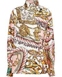 Moschino Asymmetric Printed Silk-twill Shirt Pastel Pink - White