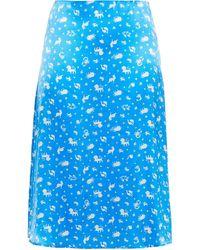 HVN - Wiona Printed Silk-satin Skirt - Lyst