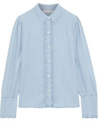FRAME Scalloped -chambray Shirt Sky Blue