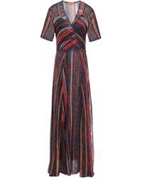 Missoni - Layered Metallic Striped Crochet-knit Maxi Dress Tomato Red - Lyst