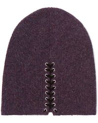 Autumn Cashmere - Lace-up Ribbed Cashmere Beanie - Lyst