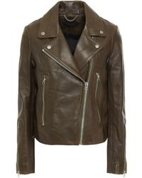 Rag & Bone Leather Biker Jacket Army Green