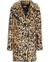 MILLY Leopard-print Faux Fur Coat Animal Print - Multicolour