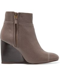 Lanvin - Textured-leather Wedge Boots - Lyst
