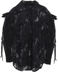 Simone Rocha Embellished Corded Lace And Point D'esprit Shirt Black