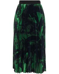Off-White c/o Virgil Abloh Pleated Printed Silk-crepe Midi Skirt - Black