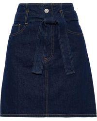 3x1 Kelly Belted Denim Mini Skirt Dark Denim - Blue