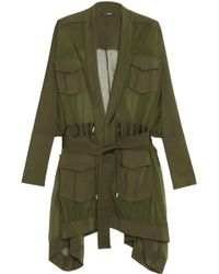 Balmain - Belted Knitted Cardigan Army Green - Lyst