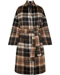 Brunello Cucinelli Embellished Checked Alpaca And Wool-blend Coat Brown