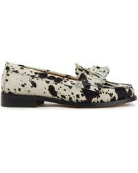 IRO Thasos Tasselled Printed Calf Hair Loafers Off-white