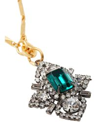 Elizabeth Cole Hematite And 24-karat Gold-plated Swarovski Crystal Necklace - Green