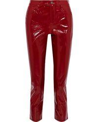 J Brand Ruby Cropped Patent-leather Slim-leg Pants Crimson - Red
