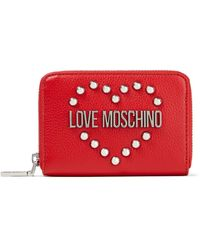 Love Moschino Logo-appliquéd Studded Pebbled-leather Wallet - Red