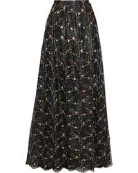 Costarellos Embroidered Metallic Tulle Maxi Skirt Charcoal - Grey