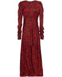 Maje Ruched Floral-print Twill Midi Dress Black