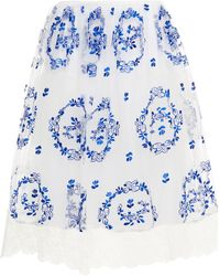 Simone Rocha Embroidered Gathered Tulle Skirt - Blue