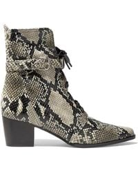 Tabitha Simmons Porter Buckled Snake-effect Leather Ankle Boots - Multicolour