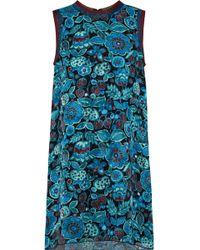 Anna Sui - Metallic-trimmed Printed Silk-jacquard Mini Dress Teal - Lyst