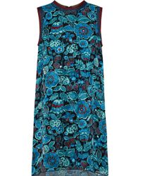 Anna Sui Metallic-trimmed Printed Silk-jacquard Mini Dress Teal - Blue