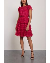 Needle & Thread Darcy Embroidered Tulle Mini Dress Crimson