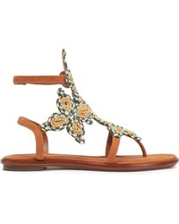 Tory Burch - Woven-trimmed Leather Sandals - Lyst