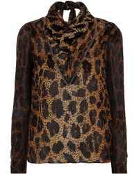 Tom Ford Tie-neck Tulle-trimmed Silk-georgette Blouse Light Brown
