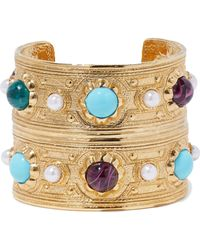 Ben-Amun - Hammered Gold-tone, Bead And Faux Pearl Bracelet - Lyst