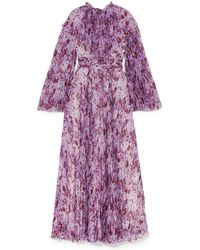 Giambattista Valli Pleated Printed Silk-chiffon Maxi Dress - Purple