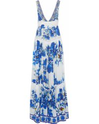 Camilla - Ring Of Roses Embellished Floral-print Silk Maxi Dress - Lyst