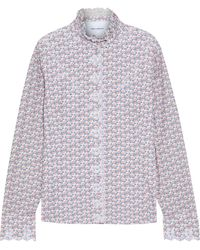 Paco Rabanne Printed Broderie Anglaise Cotton Shirt Pastel Pink