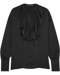 Etro - Lace-up Ruffle-trimmed Silk-jacquard Blouse - Lyst
