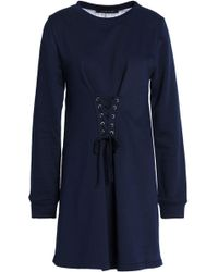 W118 by Walter Baker - Anne Lace-up French Terry And Striped Cotton-blend Poplin Mini Dress Midnight Blue - Lyst