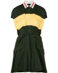 Carven - Color-block Cotton-piqué Mini Dress Forest Green - Lyst